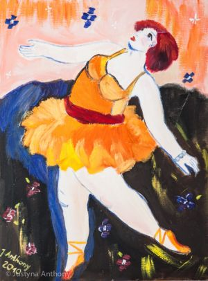 Ballerina in an orange dress